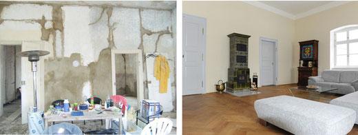 Ein Wohnraum des Gutsherrenhauses, vor und nach der Sanierung der denkmalgeschützten Immobilie.