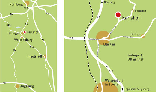 Lageplan mit Karlshof, Ellingen
