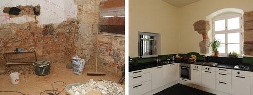 Die Küche des Gutsherrenhauses, vor und nach der Sanierung der denkmalgeschützten Immobilie.
