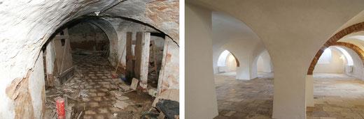 Das Kellergewölbe des Gutsherrenhauses, vor und nach der Sanierung der denkmalgeschützten Immobilie.