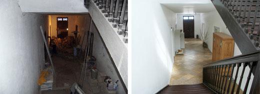 Der Eingangsbereich des Gutsherrenhauses, vor und nach der Sanierung der denkmalgeschützten Immobilie.