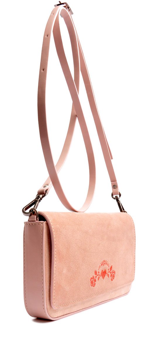 Drindltasche aus Leder . Crossovertasche . Clutch in rose . Trachtentasche . OSTWALD Traditional Craft