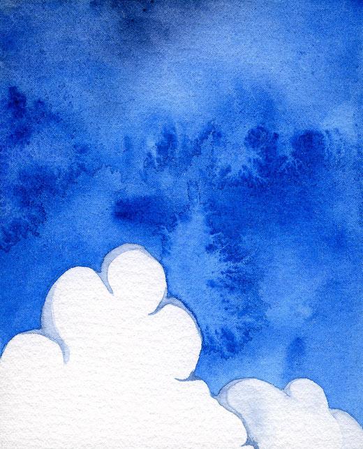 水彩画「Summer cloud」