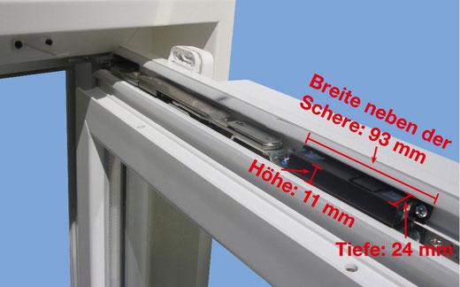 Der WINFLIP-Alarm wird im oberen Flügelfalz montiert