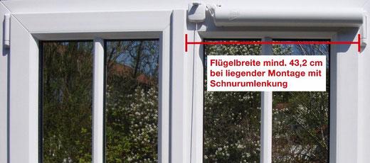 Mindestens 43,2 cm Flügelbreite bei liegender Montage mit Schnurumlenkung nach oben (meist bei zweiflügeligem Fenster mit schmaler Schlagleiste)