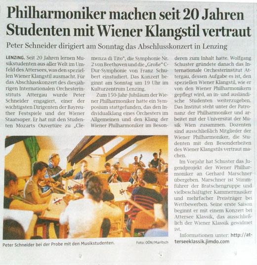 Artikel OÖN am 22.8.2014