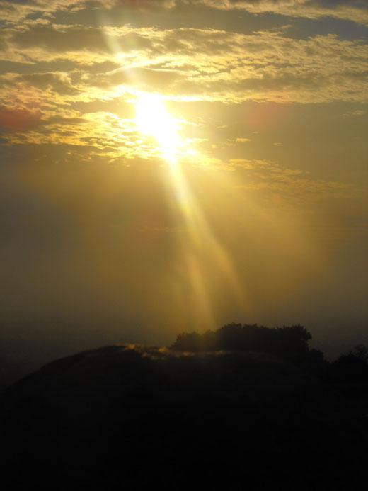 タラの丘に注ぐ太陽の光