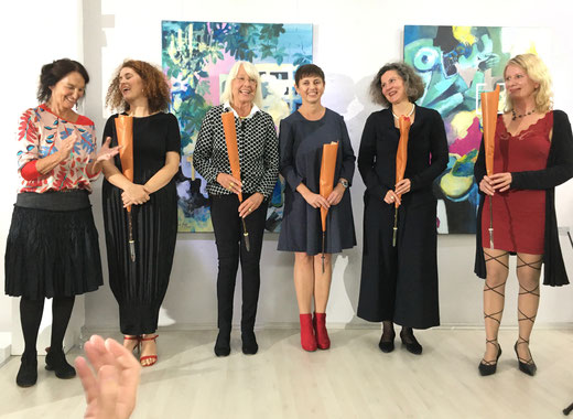 Vernissage Ausstellung Kopfsache Okt. 2019: Angelika Karoly, Antje Keil, Dorothea Paschen, Liliana Geiss, Maria L. Weigel, Almuth Werner,  GEDOK Galerie, GEDOK Heidelberg