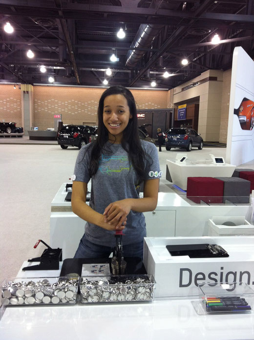 Philly Auto Show: Nicknamed myself 'Muscles' cause I was a button making machine! Grrr