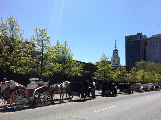 Carriages lying wait in Philadelphia