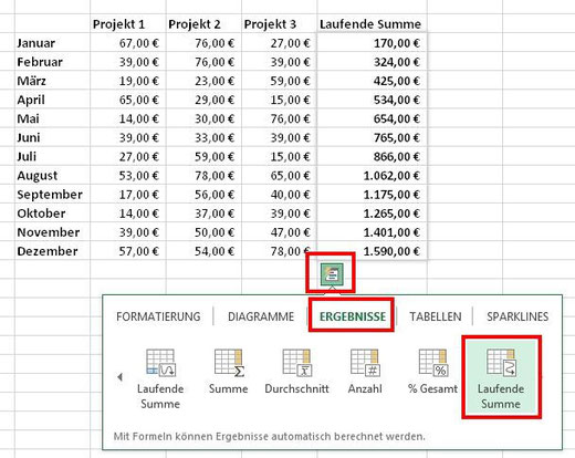 Excel 2013, laufende Summe