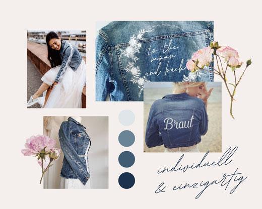 Jeansjacken, individuell und einzigartig, Brautjeansjacken aus Second Hand Jacken,