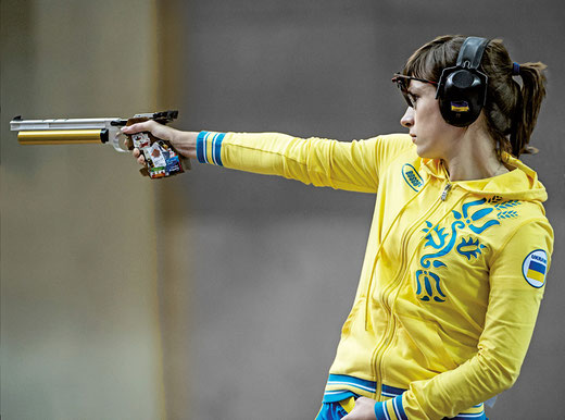 Olena Kostevych in the Olympic Final Air-Pistol, London 2012