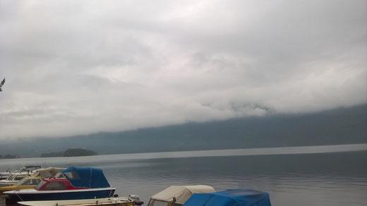 Das Foto vom Campingplatz am See kündigt für morgen kein gutes Wetter an...