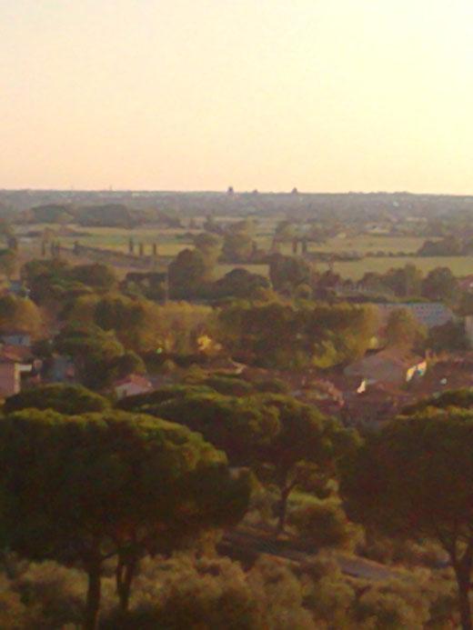 Blick auf den Turm von Pisa (mit viel Phantasie am Horizont zu sehen)