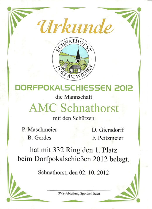 Urkunde Dorfpokalschießen 2012