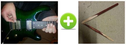 Kaputte Guitarren seiten und kaputte Schlagzeug sticks