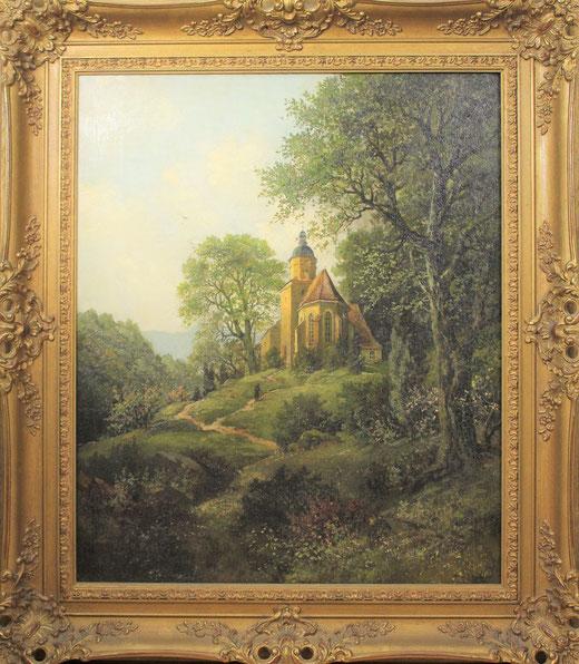 te_koop_aangeboden_een_landschaps_schilderij_met_kerkje_en_figuur_duitse_school_20e_eeuw