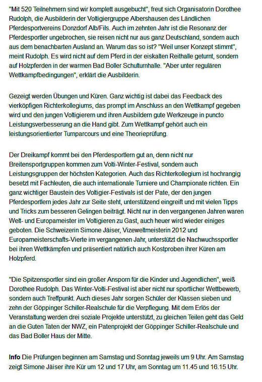 Vorbericht in der NWZ vom 24.01.2014