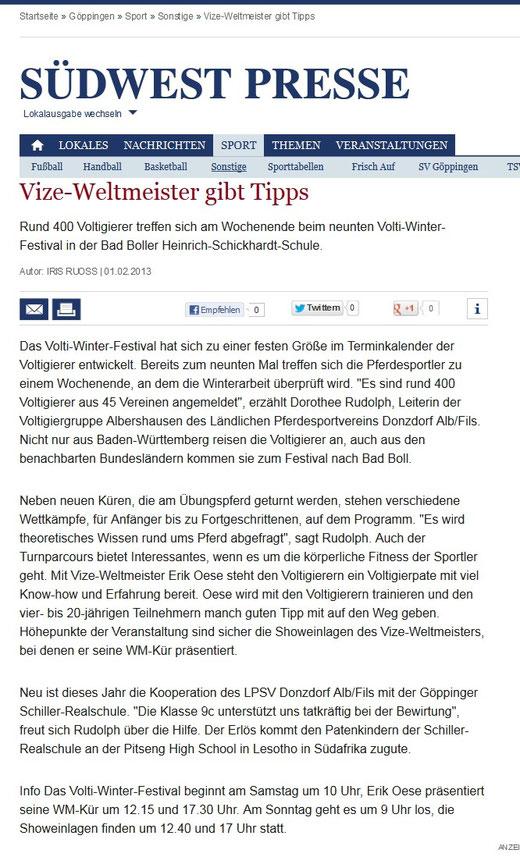 Vorbericht NWZ online 01 02 2013