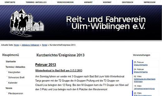 Bericht auf der Homepage des R&FV Ulm-Wiblingen