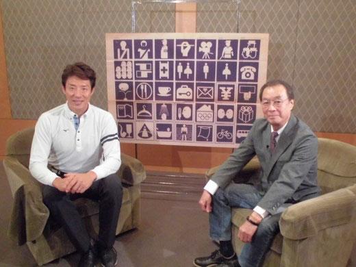 ※左が松岡修造さん。収録の前後もテレビで拝見するお人がらそのままに(あるいはそれ以上に)丁寧で礼儀正しくも気さくなお方で、原田もいっぺんにファンになってしまったようです。