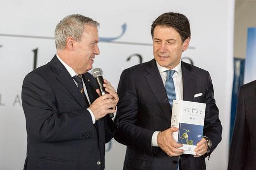 Antonello Maietta (Präsident der ital. Sommeliervereinigung) und Giuseppe Conte (Ministerpräsident Italiens)