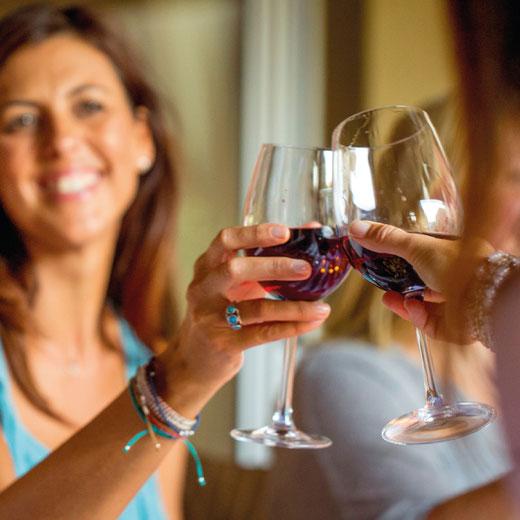 Frau am anstossen mit einem Weinglas beim Weinworkshop