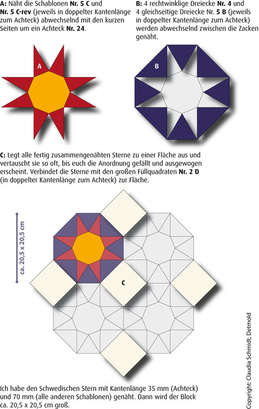 English Paper Piecing Anleitung Schwedischer Stern Tutorial Star of Sweden