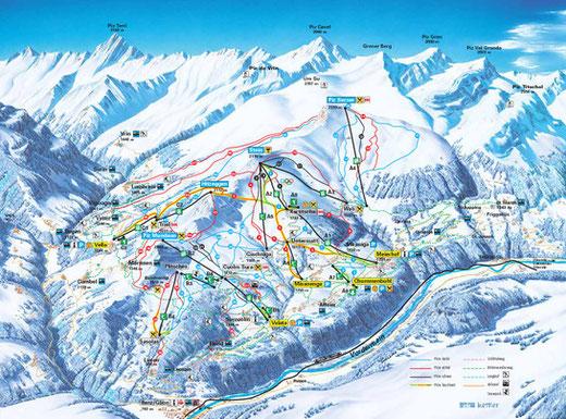 """Skigebiete in der nahen Umgebung der Ferienwohnung """"La Foppa"""", Bildquelle: www.obersaxen-mundaun.ch"""