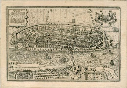 Alleen 16e eeuwse citymarketing? Plattegrond van Kampen door Paul Utewael (1598)