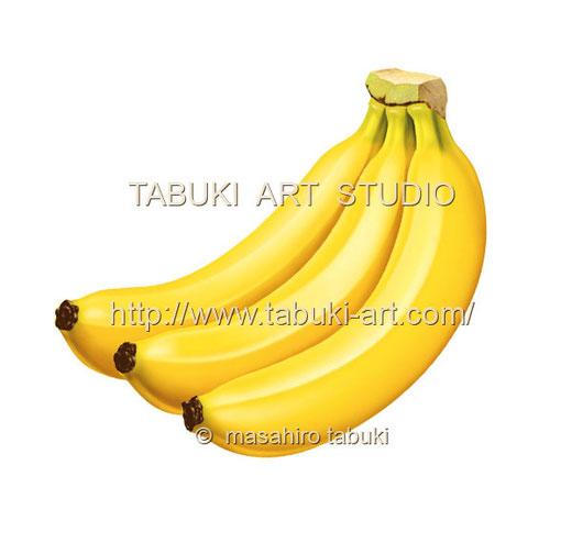 バナナの房と葉 イラスト 水滴 南国の果物 完熟 フルーツイラスト fruit illustration