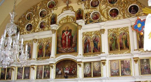 Rząd II, III i IV oraz zwieńczenie ikonostasu w cerkwi św. Dymitra Męczennika we wsi Obručne na Słowacji