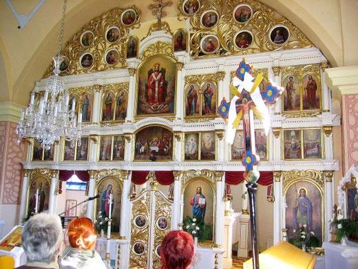 Ikonostas w cerkwi św. Dymitra Męczennika we wsi Obručne na Słowacji