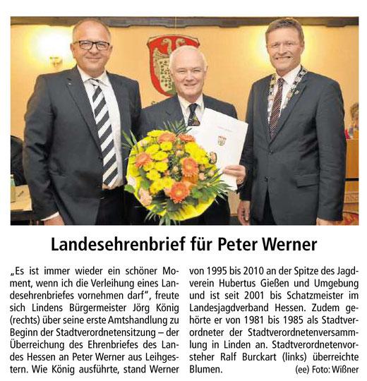 Landesehrenbrief für Peter Werner