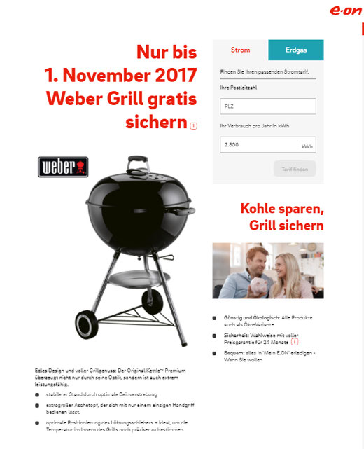 e on grill aktion gratis weber grill. Black Bedroom Furniture Sets. Home Design Ideas