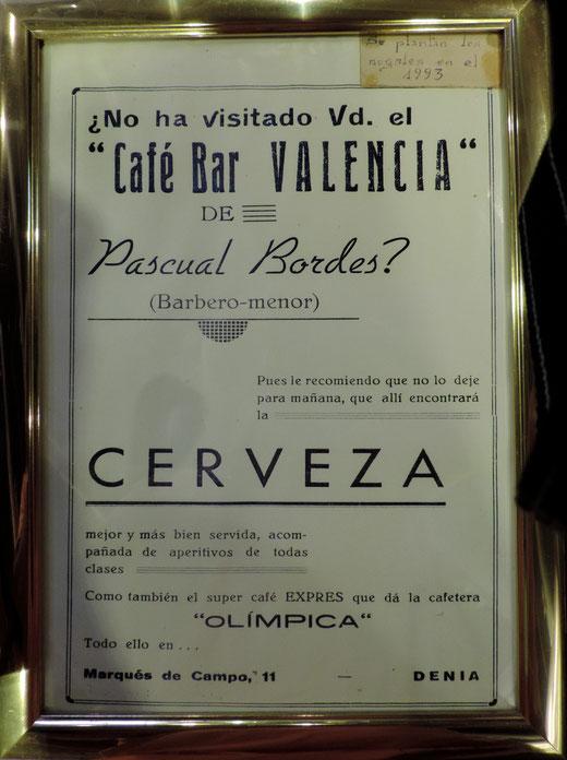 Cartel publicitario de los años 40 del Café Bar Valencia