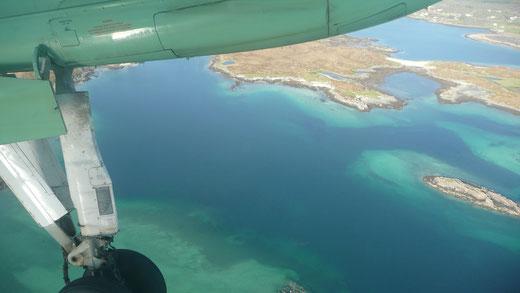 vue de l'avion avant l'atterissage sur les iles Lofoten