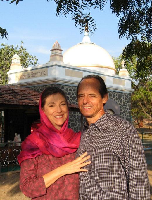 Debbie & husband Peter Nordeen at Meher Baba's Tomb at Meherabad, India