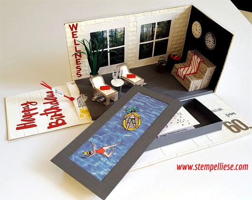 #stampinup #stempelliese.com #Wellness #Sauna #Schwimmbad #Explosionsbox #Explodingbox #Geburtstag #Geldgeschenk