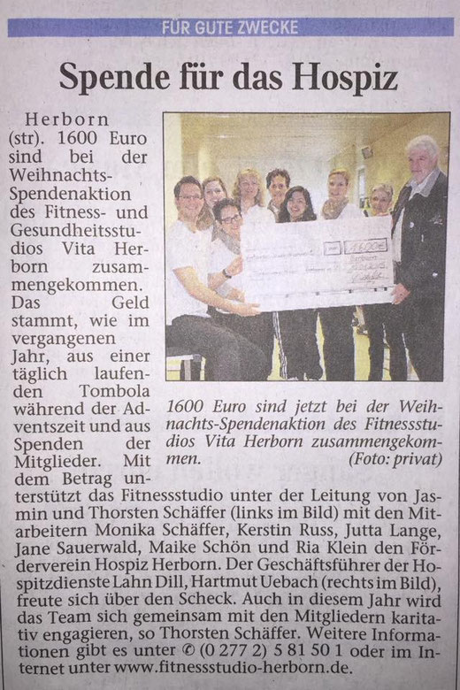 Zeitungsartikel Spendenaktion des Fitnessstudio Vita Herborn an den Förderverein Hospitz Herborn e.V. über 1600 Euro