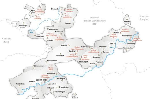 karte burgen schlösser solothurn