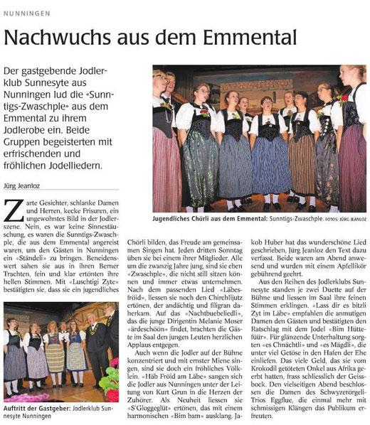 """Bericht von Jürg Jeanloz im """"Wochenblatt"""" vom 30. Oktober 2014"""