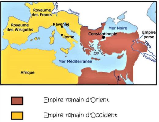 A la mort de Théodose 1er en 395, l'Empire romain est partagé entre ses deux fils Arcadius qui règnera sur l'orient et Honorius qui reçoit l'occident. L'Empire romain d'occident (capitale : Rome) et l'Empire romain d'orient (capitale Constantinople).