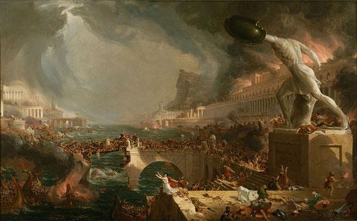 Rome est détruite en 410 par Alaric. C'est le déclin de l'Empire romain d'occident, la fille du roi du Sud qui ne tiendra pas devant les invasions barbares.