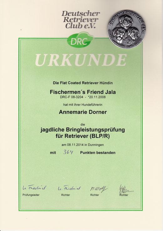 BLP/R am 08.11.2014 in Dunningen - Urkunde für den Suchensieg