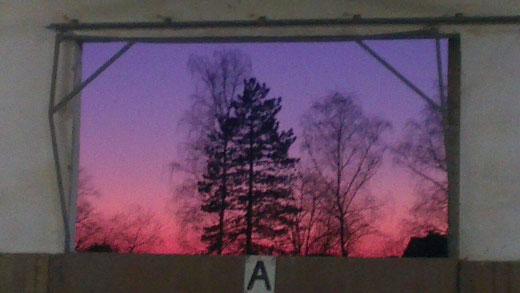 Sonnenuntergang - wunderschön von der Halle aus zu beobachten!