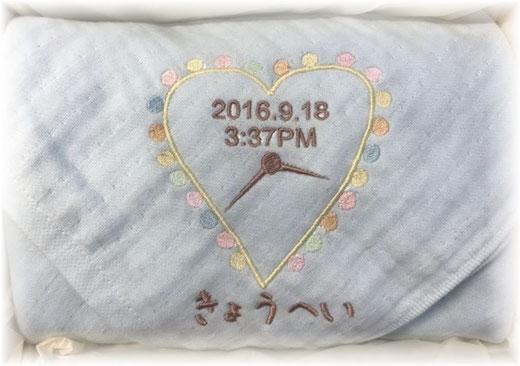 名前入り ガーゼ「Time タオル」 出産祝い