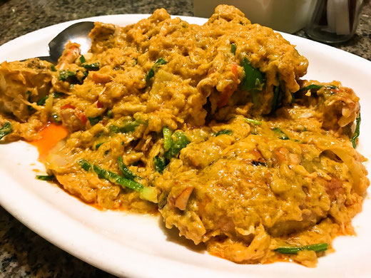 蟹のカレー卵炒め タイ料理