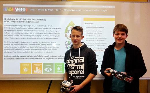 Robin Aengenheyster und Jan Monier (Klasse 9b) haben sich für eine Teilnahme am Wettbewerb WRO 2017 entschieden!